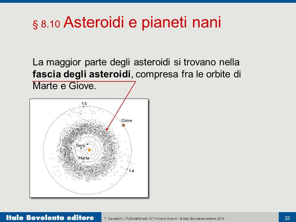 T. Cavattoni - l'Universo età 13,7 miliardi di anni - © Italo Bovolenta editore 2010 32 § 8.10 Asteroidi e pianeti nani La maggior parte degli asteroi