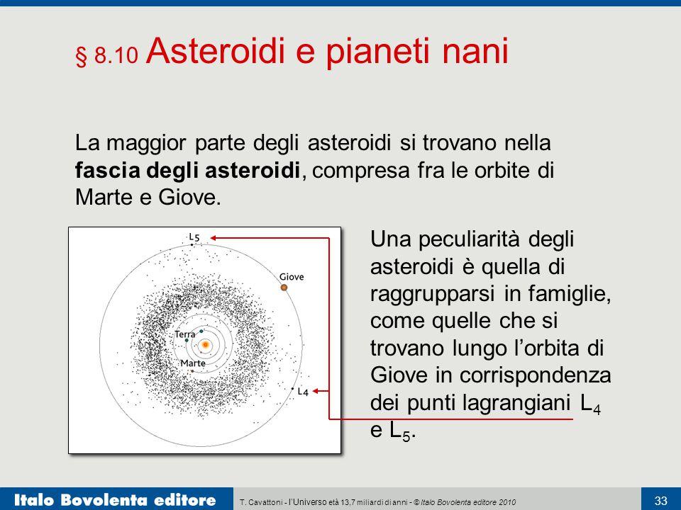 T. Cavattoni - l'Universo età 13,7 miliardi di anni - © Italo Bovolenta editore 2010 33 § 8.10 Asteroidi e pianeti nani La maggior parte degli asteroi