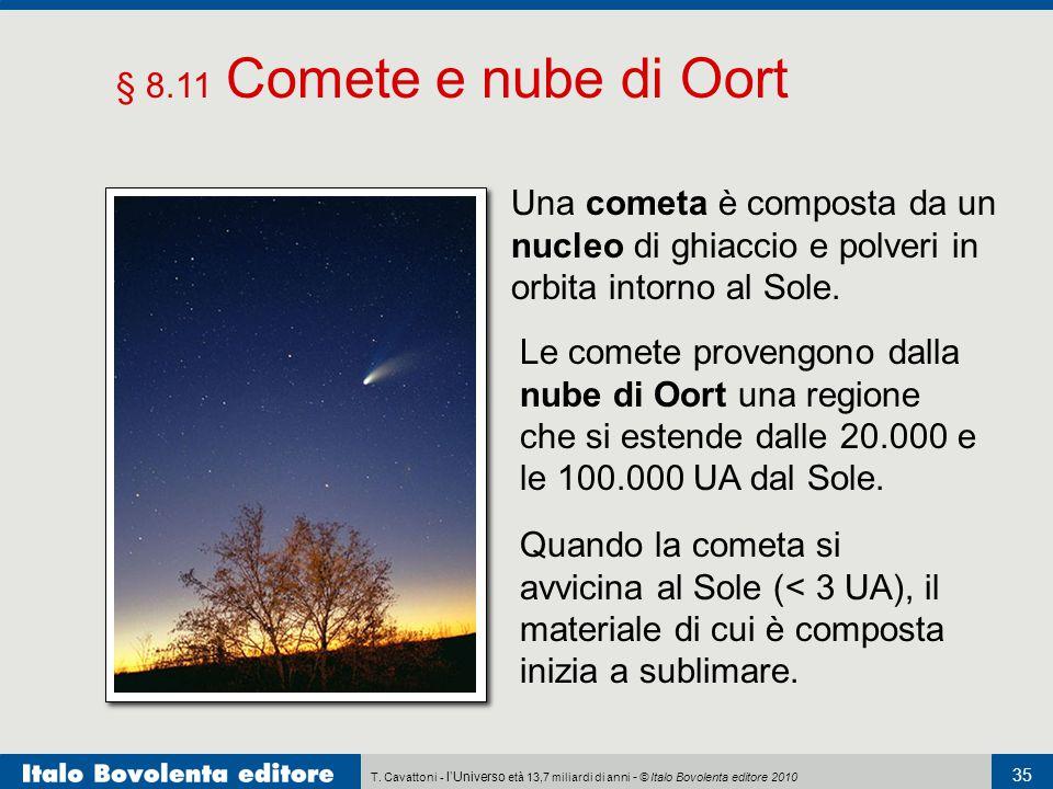 T. Cavattoni - l'Universo età 13,7 miliardi di anni - © Italo Bovolenta editore 2010 35 § 8.11 Comete e nube di Oort Le comete provengono dalla nube d