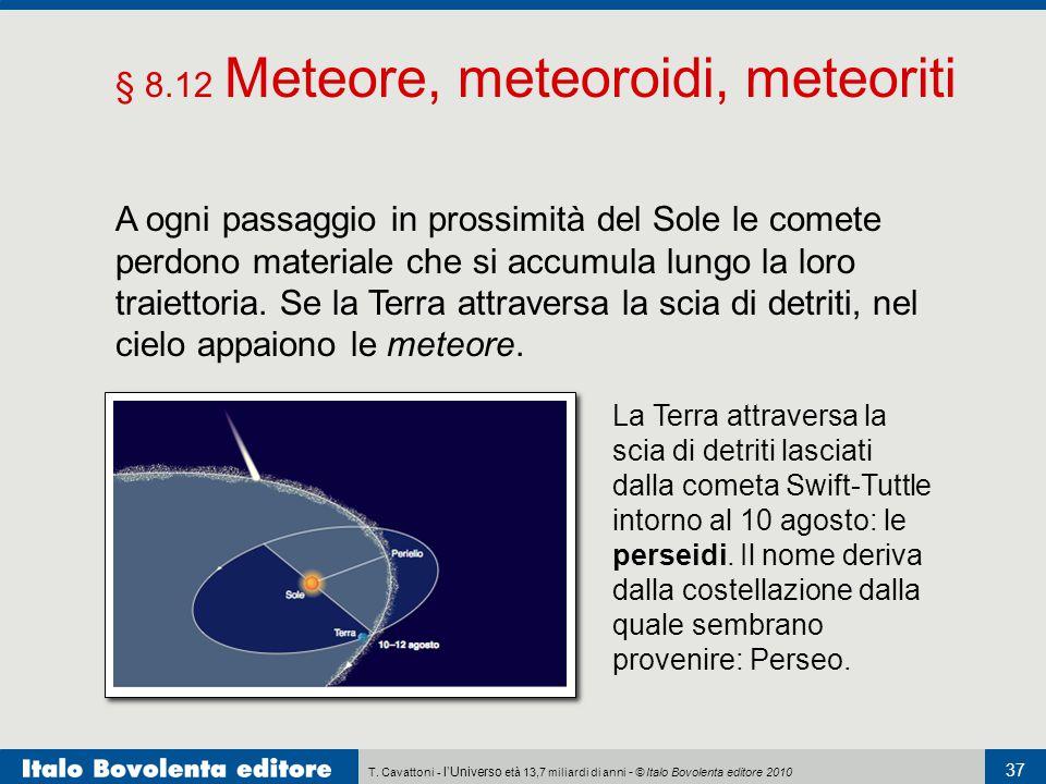 T. Cavattoni - l'Universo età 13,7 miliardi di anni - © Italo Bovolenta editore 2010 37 § 8.12 Meteore, meteoroidi, meteoriti A ogni passaggio in pros
