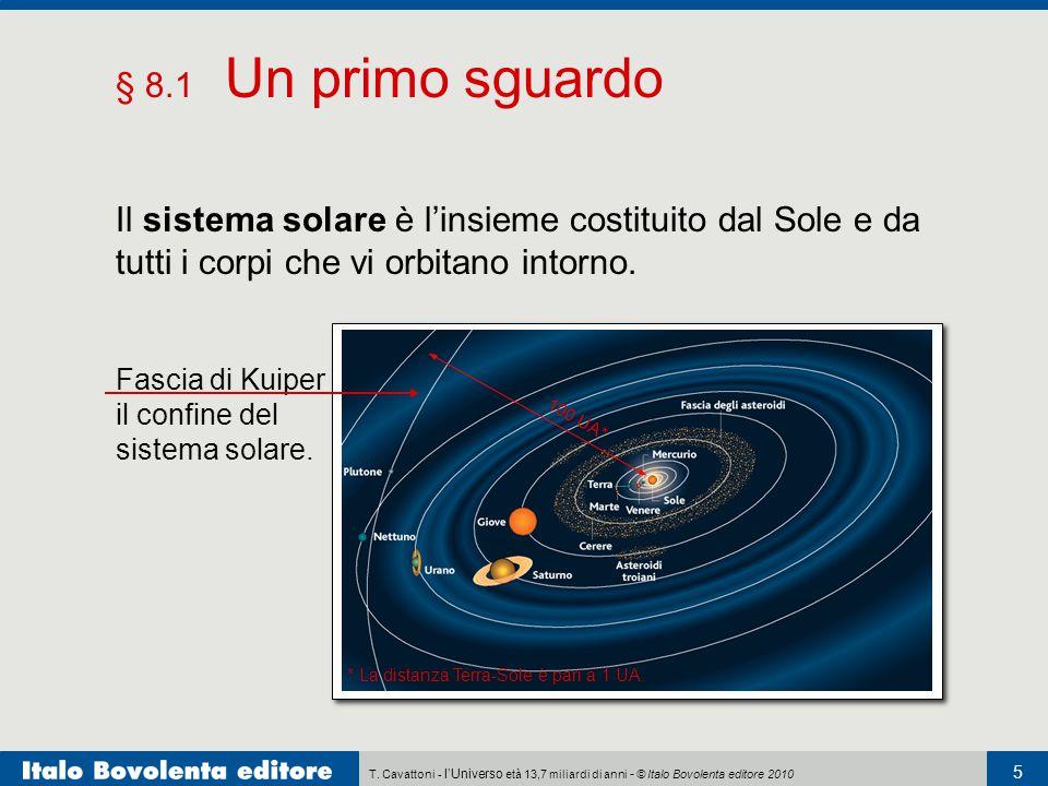 T. Cavattoni - l'Universo età 13,7 miliardi di anni - © Italo Bovolenta editore 2010 5 § 8.1 Un primo sguardo Il sistema solare è l'insieme costituito