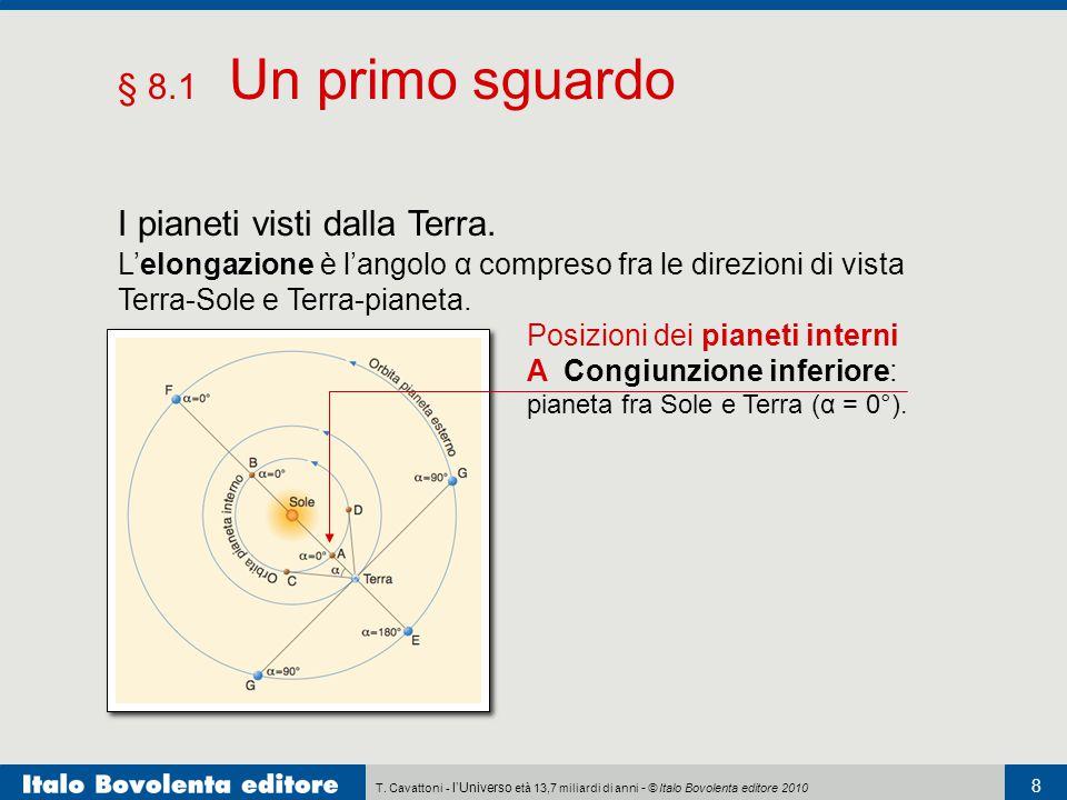 T. Cavattoni - l'Universo età 13,7 miliardi di anni - © Italo Bovolenta editore 2010 8 § 8.1 Un primo sguardo I pianeti visti dalla Terra. L'elongazio