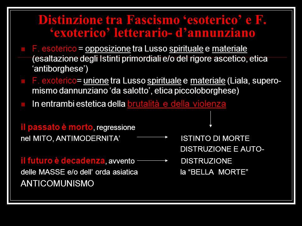 Distinzione tra Fascismo 'esoterico' e F. 'exoterico' letterario- d'annunziano F. esoterico = opposizione tra Lusso spirituale e materiale (esaltazion