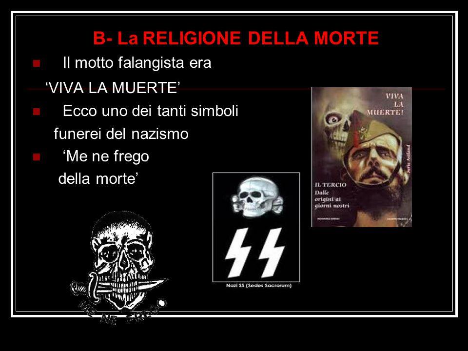 B- La RELIGIONE DELLA MORTE Il motto falangista era 'VIVA LA MUERTE' Ecco uno dei tanti simboli funerei del nazismo 'Me ne frego della morte'