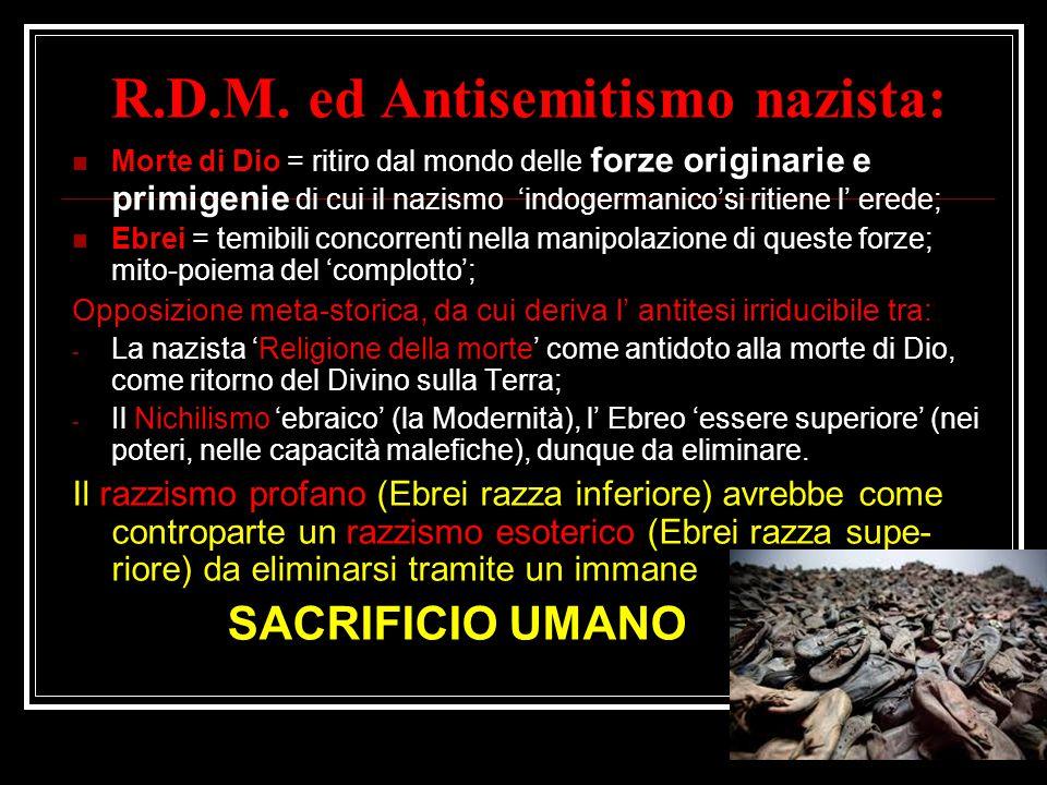 R.D.M. ed Antisemitismo nazista: Morte di Dio = ritiro dal mondo delle forze originarie e primigenie di cui il nazismo 'indogermanico'si ritiene l' er