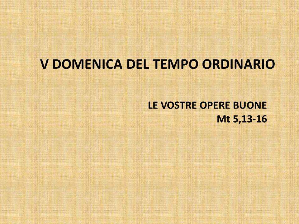 V DOMENICA DEL TEMPO ORDINARIO LE VOSTRE OPERE BUONE Mt 5,13-16