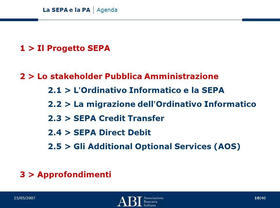 10 40 La SEPA e la PA 25/05/2007 Agenda 1 > Il Progetto SEPA 2 > Lo stakeholder Pubblica Amministrazione 2.1 > L ' Ordinativo Informatico e la SEPA 2.2 > La migrazione dell ' Ordinativo Informatico 2.3 > SEPA Credit Transfer 2.4 > SEPA Direct Debit 2.5 > Gli Additional Optional Services (AOS) 3 > Approfondimenti