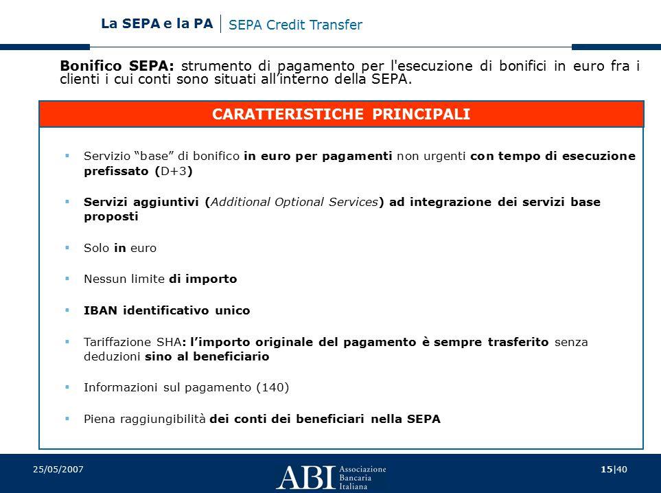 15 40 La SEPA e la PA 25/05/2007 Bonifico SEPA: strumento di pagamento per l esecuzione di bonifici in euro fra i clienti i cui conti sono situati all'interno della SEPA.