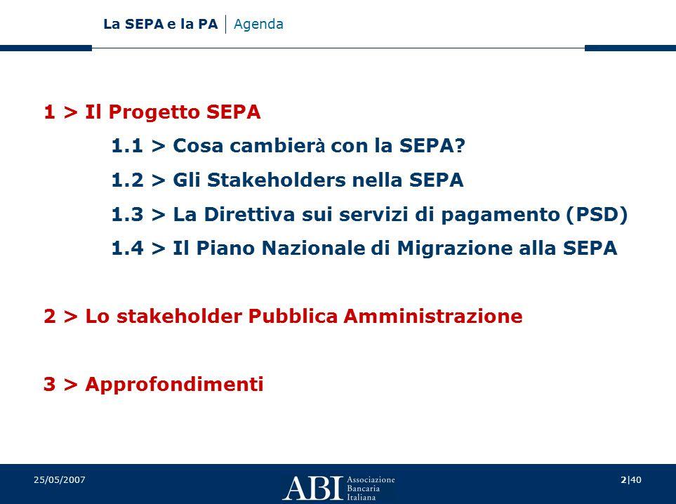 2|40 La SEPA e la PA 25/05/2007 Agenda 1 > Il Progetto SEPA 1.1 > Cosa cambier à con la SEPA? 1.2 > Gli Stakeholders nella SEPA 1.3 > La Direttiva sui