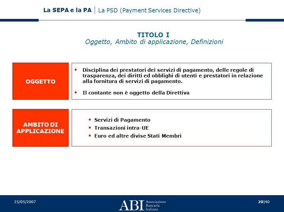 20 40 La SEPA e la PA 25/05/2007 OGGETTO AMBITO DI APPLICAZIONE  Disciplina dei prestatori dei servizi di pagamento, delle regole di trasparenza, dei diritti ed obblighi di utenti e prestatori in relazione alla fornitura di servizi di pagamento.