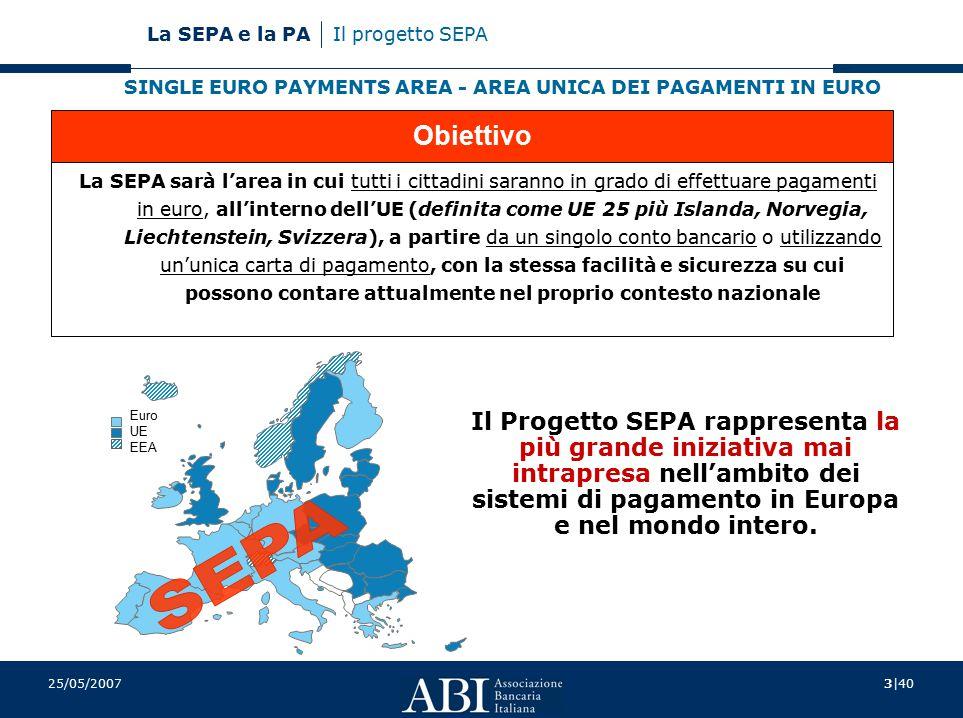 4|40 La SEPA e la PA 25/05/2007 Il progetto SEPA La SEPA è la naturale conseguenza dell'euro 1999-2002 passaggio all'euro  pagamenti in contanti attraverso 12 paesi con una singola valuta 2001 Regolamento (EC) 2560/01  sono equiparate le commissioni per i pagamenti fino a 50.000 euro, mediante carta o bonifico, in territorio nazionale e nella UE Si apre per le banche la possibilità/necessità di compiere un balzo in avanti nella trasformazione dei sistemi di pagamento al dettaglio nazionali: creare una rete dei pagamenti al dettaglio più moderna, solida ed efficiente, di qualità superiore rispetto all'attuale molteplicità di infrastrutture E' necessaria una profonda trasformazione per il sistema bancario per le imprese