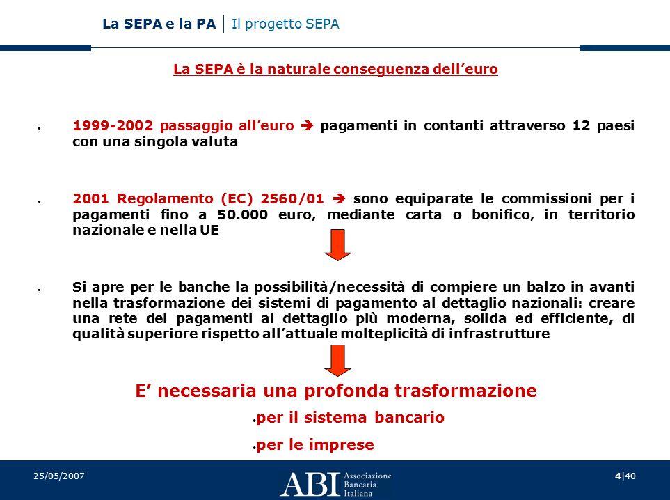 4 40 La SEPA e la PA 25/05/2007 Il progetto SEPA La SEPA è la naturale conseguenza dell'euro 1999-2002 passaggio all'euro  pagamenti in contanti attraverso 12 paesi con una singola valuta 2001 Regolamento (EC) 2560/01  sono equiparate le commissioni per i pagamenti fino a 50.000 euro, mediante carta o bonifico, in territorio nazionale e nella UE Si apre per le banche la possibilità/necessità di compiere un balzo in avanti nella trasformazione dei sistemi di pagamento al dettaglio nazionali: creare una rete dei pagamenti al dettaglio più moderna, solida ed efficiente, di qualità superiore rispetto all'attuale molteplicità di infrastrutture E' necessaria una profonda trasformazione per il sistema bancario per le imprese