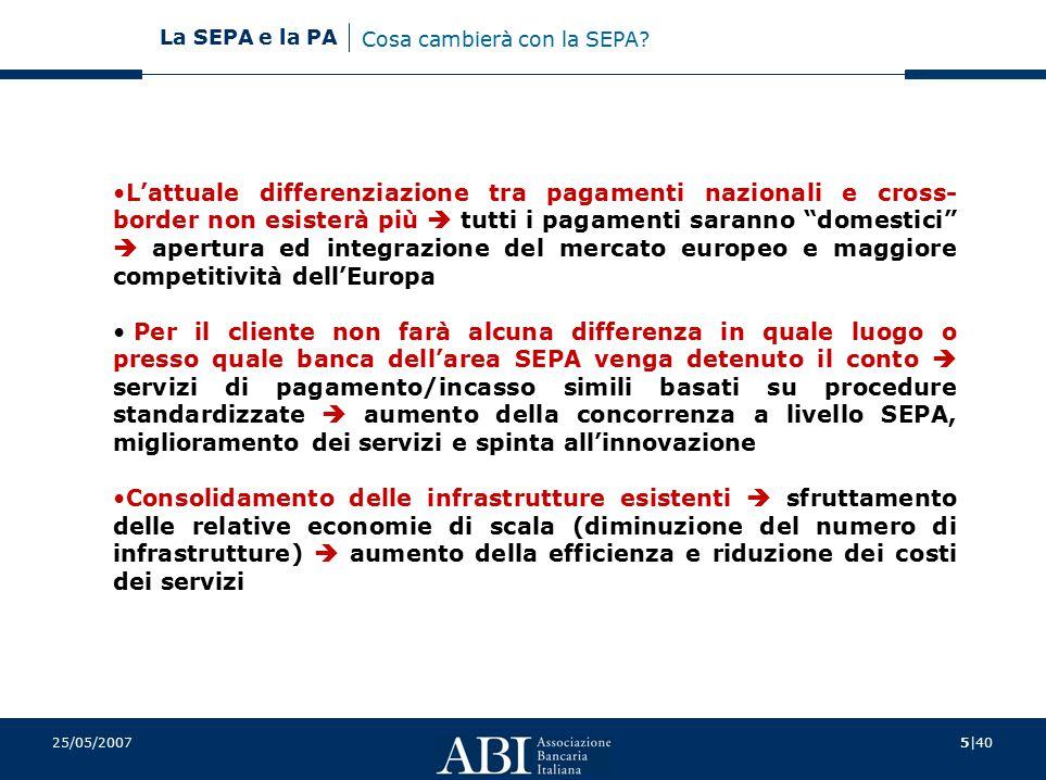 6|40 La SEPA e la PA 25/05/2007 VANTAGGISTAKEHOLDERS Schemi e standards comuni in ambito SEPA per bonifici ed incassi  riduzione dei costi  semplificazione processi Imprese Pubblica Amministrazione Cittadini Esercenti Possibilità di servirsi della stessa carta indifferentemente in tutta l'area SEPA Cittadini Possibilità di raggiungere tutti i conti bancari nell'area dell'euro con la stessa istruzione di pagamento sia per effettuare bonifici che incassi  maggiore efficienza  riduzione dei costi Pubblica Amministrazione Imprese Cittadini Apertura dei mercati, aumento della scelta dei sistemi per processare i pagamenti  maggiori possibilità di scelta in base ai servizi offerti  prezzi più vantaggiosi Imprese Pubblica Amministrazione Miglioramento dei servizi e prezzi più competitivi  maggiore sicurezza e velocità delle transazioni  maggiore trasparenza delle commissioni  pagamenti eseguiti uniformemente in qualsiasi nazione SEPA entro tempi massimi garantiti Cittadini Imprese Esercenti Pubblica Amministrazione Occasione di innovazione  ammodernamento sistemi di pagamento Pubblica Amministrazione Imprese Cosa cambierà con la SEPA?