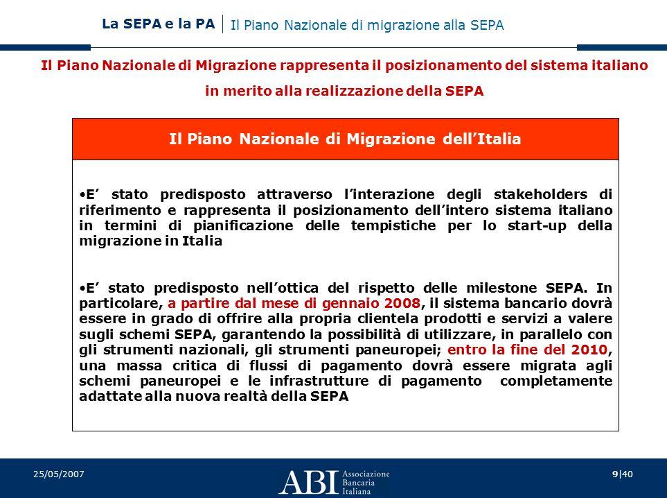 9 40 La SEPA e la PA 25/05/2007 Il Piano Nazionale di Migrazione rappresenta il posizionamento del sistema italiano in merito alla realizzazione della SEPA Il Piano Nazionale di Migrazione dell'Italia E' stato predisposto attraverso l'interazione degli stakeholders di riferimento e rappresenta il posizionamento dell'intero sistema italiano in termini di pianificazione delle tempistiche per lo start-up della migrazione in Italia E' stato predisposto nell'ottica del rispetto delle milestone SEPA.