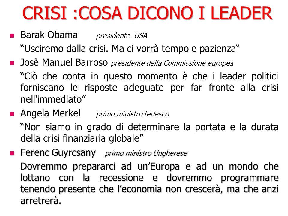 """CRISI :COSA DICONO I LEADER Barak Obama presidente USA """"Usciremo dalla crisi. Ma ci vorrà tempo e pazienza"""" Josè Manuel Barroso presidente della Commi"""