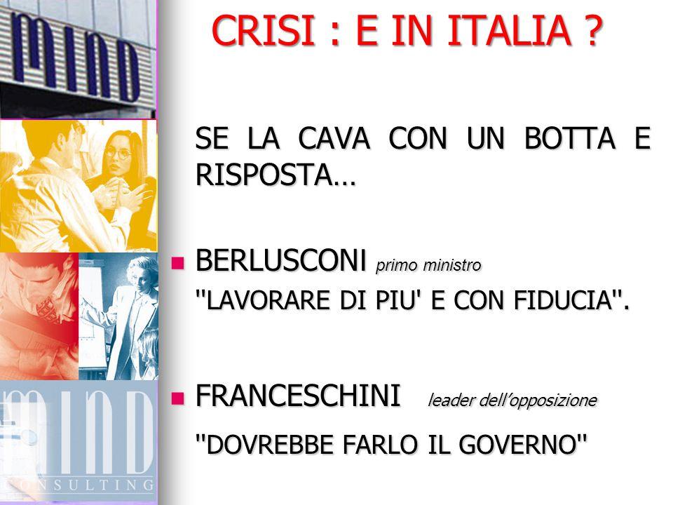 CRISI : E IN ITALIA ? SE LA CAVA CON UN BOTTA E RISPOSTA… BERLUSCON I primo ministro BERLUSCON I primo ministro ''LAVORARE DI PIU' E CON FIDUCIA''. FR
