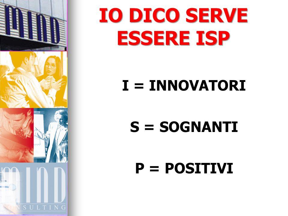 IO DICO SERVE ESSERE ISP I = INNOVATORI S = SOGNANTI P = POSITIVI