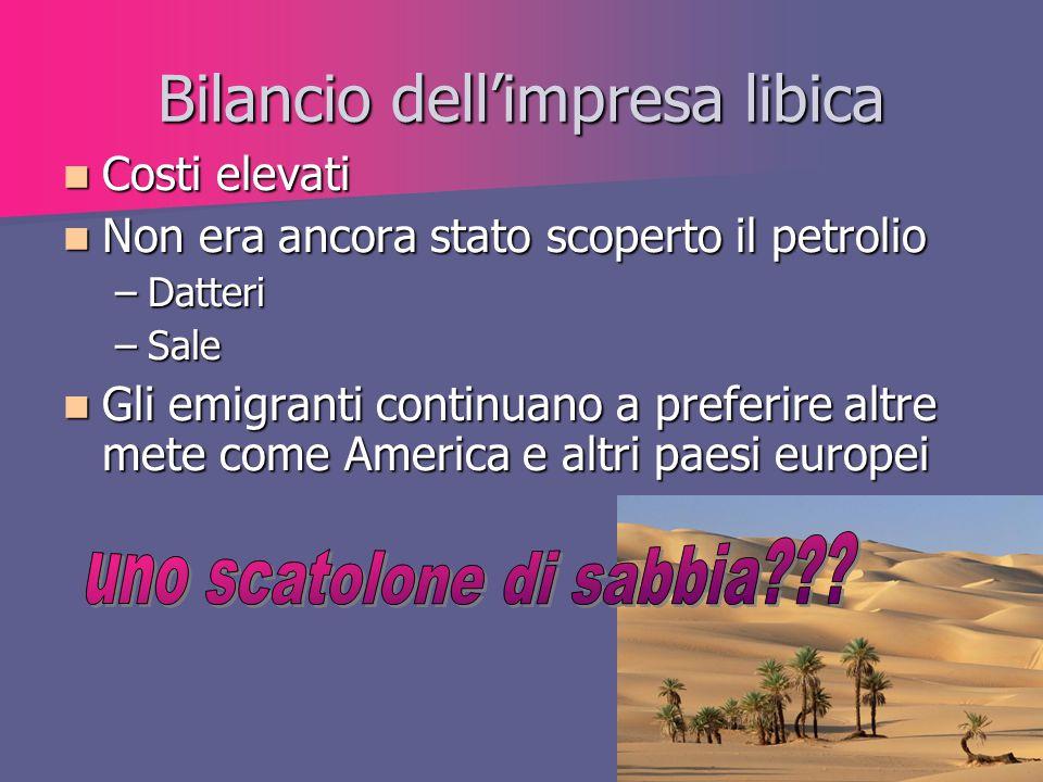 Bilancio dell'impresa libica Costi elevati Costi elevati Non era ancora stato scoperto il petrolio Non era ancora stato scoperto il petrolio –Datteri
