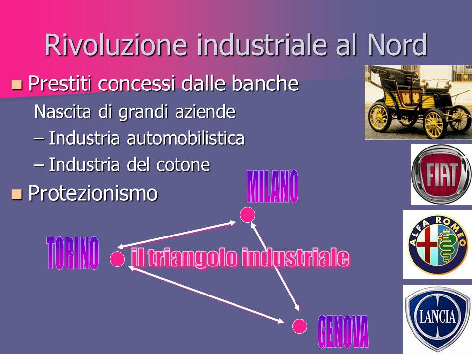 Rivoluzione industriale al Nord Prestiti concessi dalle banche Prestiti concessi dalle banche Nascita di grandi aziende –Industria automobilistica –In