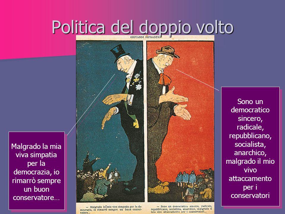 Politica del doppio volto Sono un democratico sincero, radicale, repubblicano, socialista, anarchico, malgrado il mio vivo attaccamento per i conserva
