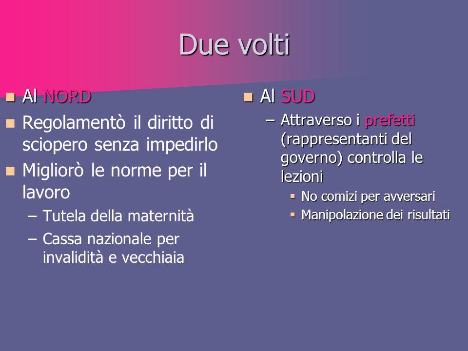 Due volti Al NORD Al NORD Regolamentò il diritto di sciopero senza impedirlo Migliorò le norme per il lavoro – –Tutela della maternità – –Cassa nazion