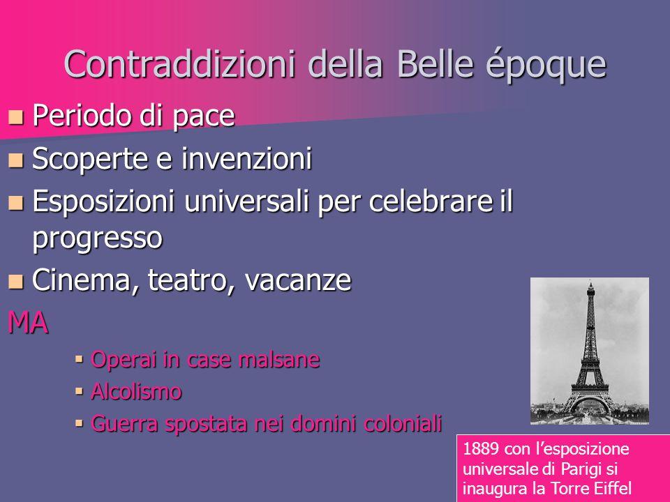 Contraddizioni della Belle époque Periodo di pace Periodo di pace Scoperte e invenzioni Scoperte e invenzioni Esposizioni universali per celebrare il