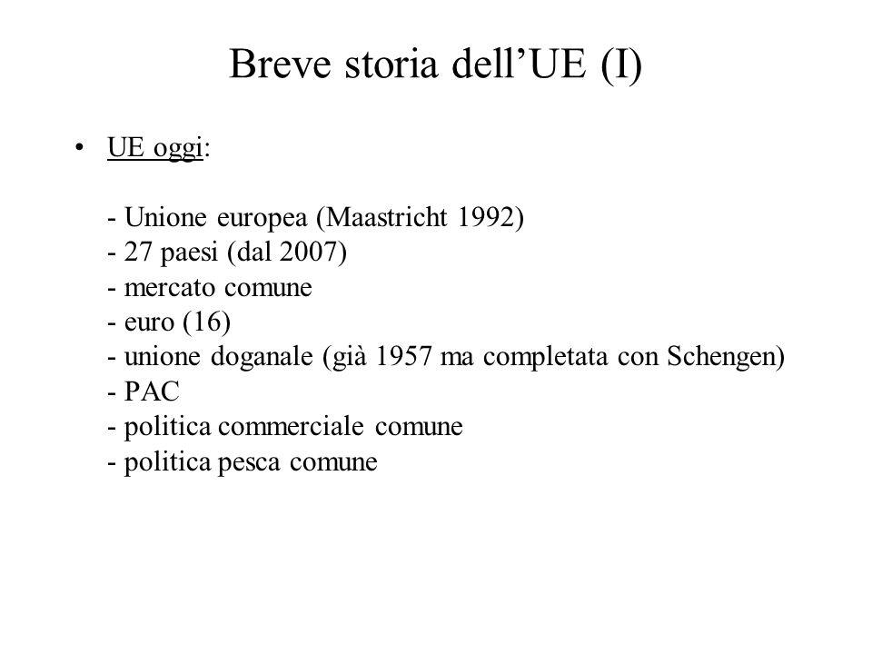 Breve storia dell'UE (I) UE oggi: - Unione europea (Maastricht 1992) - 27 paesi (dal 2007) - mercato comune - euro (16) - unione doganale (già 1957 ma