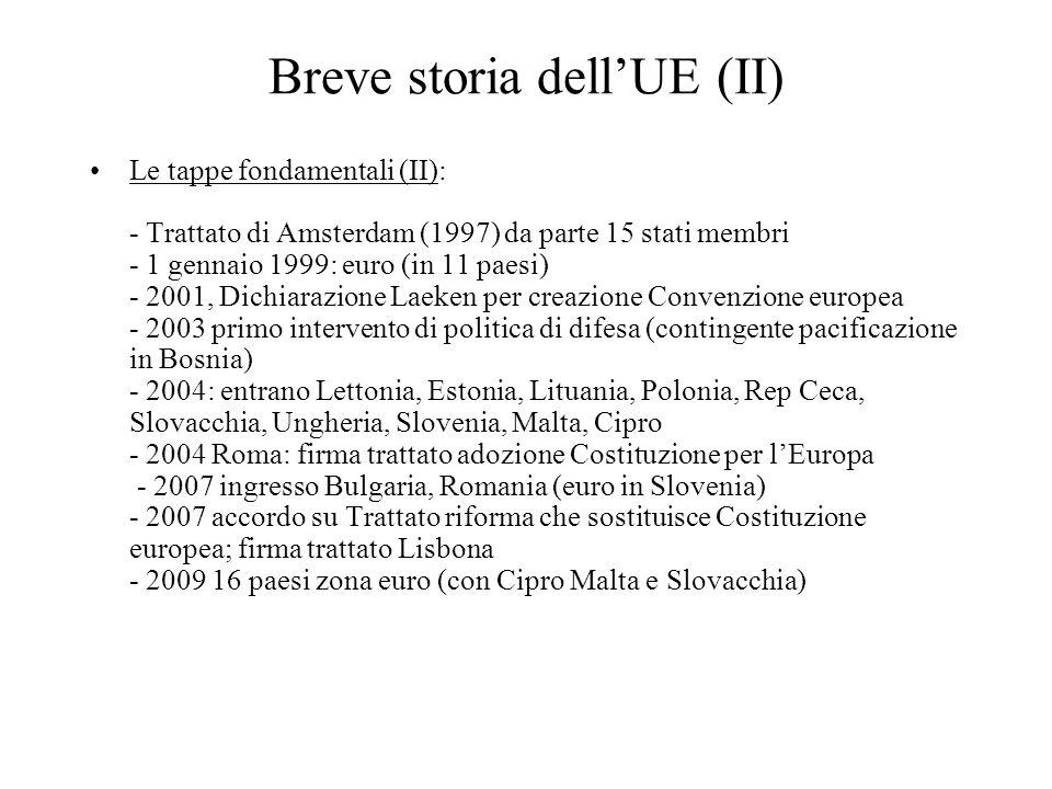 Breve storia dell'UE (II) Le tappe fondamentali (II): - Trattato di Amsterdam (1997) da parte 15 stati membri - 1 gennaio 1999: euro (in 11 paesi) - 2