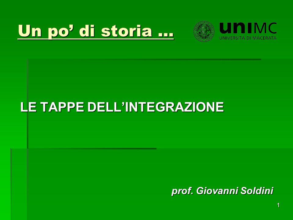 Un po' di storia … LE TAPPE DELL'INTEGRAZIONE prof. Giovanni Soldini 1