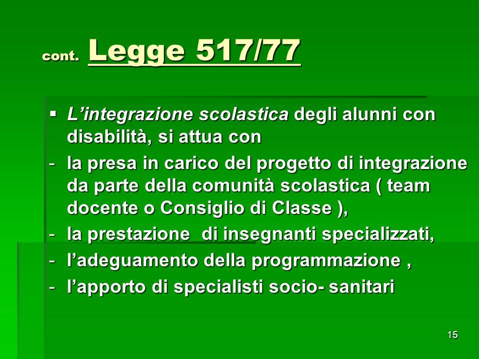 cont. Legge 517/77 cont. Legge 517/77  L'integrazione scolastica degli alunni con disabilità, si attua con -la presa in carico del progetto di integr