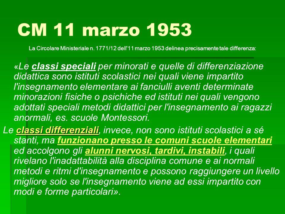 CM 11 marzo 1953 La Circolare Ministeriale n. 1771/12 dell'11 marzo 1953 delinea precisamente tale differenza: « Le classi speciali per minorati e que