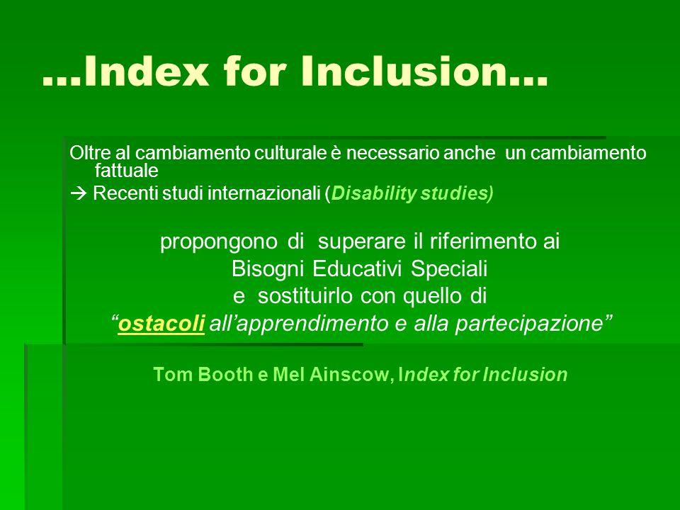 …Index for Inclusion… Oltre al cambiamento culturale è necessario anche un cambiamento fattuale  Recenti studi internazionali (Disability studies) pr