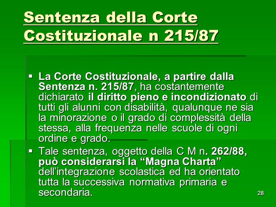 Sentenza della Corte Costituzionale n 215/87  La Corte Costituzionale, a partire dalla Sentenza n. 215/87, ha costantemente dichiarato il diritto pie