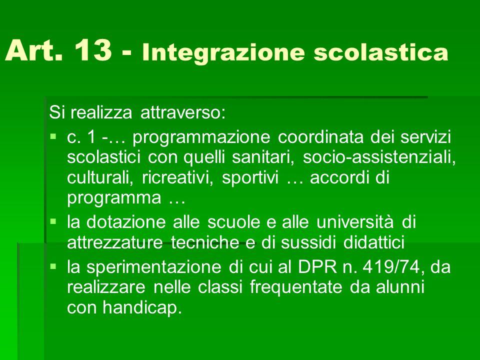 Art. 13 - Integrazione scolastica Si realizza attraverso:   c. 1 -… programmazione coordinata dei servizi scolastici con quelli sanitari, socio-assi