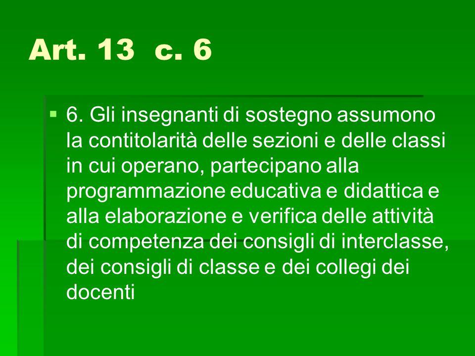 Art. 13 c. 6   6. Gli insegnanti di sostegno assumono la contitolarità delle sezioni e delle classi in cui operano, partecipano alla programmazione