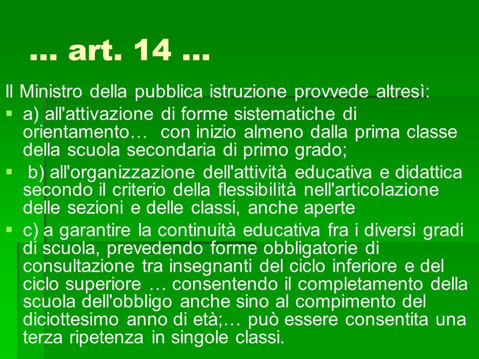 … art. 14 … Il Ministro della pubblica istruzione provvede altresì:   a) all'attivazione di forme sistematiche di orientamento… con inizio almeno da
