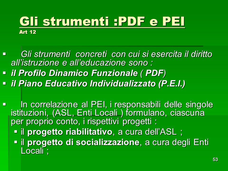 Gli strumenti :PDF e PEI Art 12  Gli strumenti concreti con cui si esercita il diritto all'istruzione e all'educazione sono :  il Profilo Dinamico F