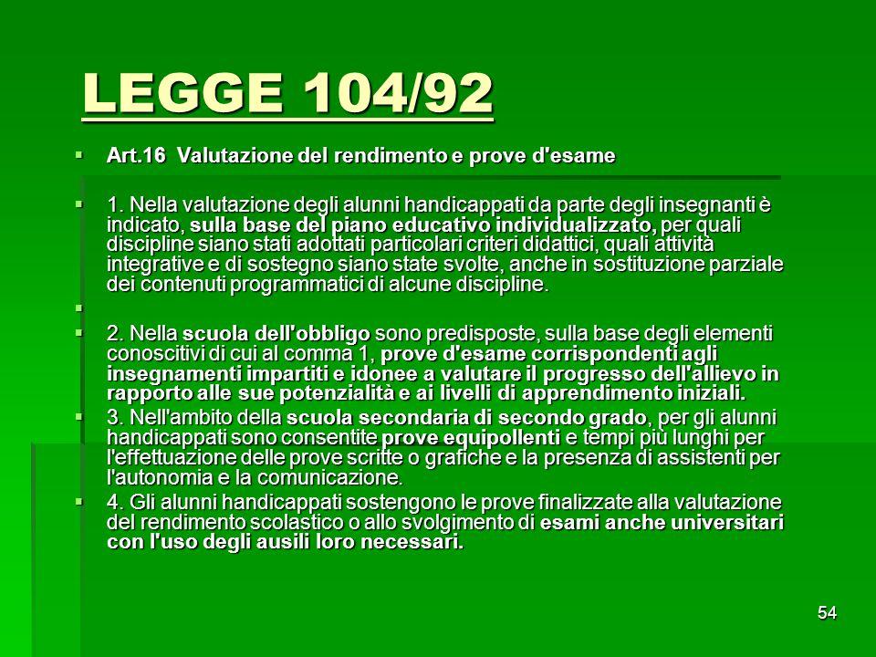 LEGGE 104/92  Art.16 Valutazione del rendimento e prove d'esame  1. Nella valutazione degli alunni handicappati da parte degli insegnanti è indicato