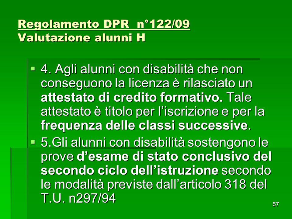Regolamento DPR n°122/09 Valutazione alunni H  4. Agli alunni con disabilità che non conseguono la licenza è rilasciato un attestato di credito forma