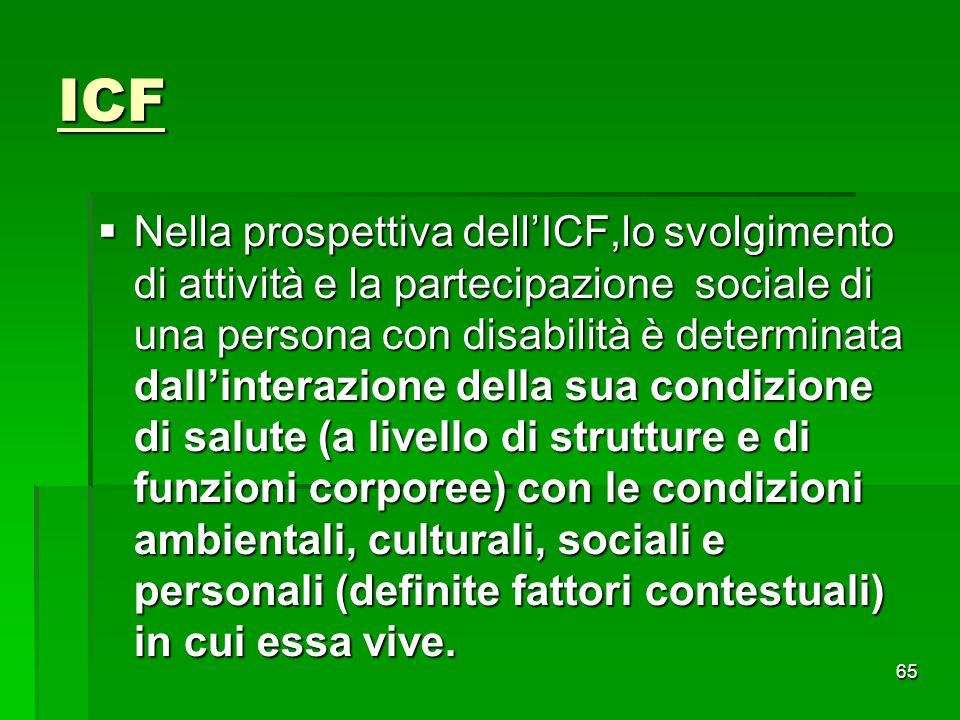 ICF  Nella prospettiva dell'ICF,lo svolgimento di attività e la partecipazione sociale di una persona con disabilità è determinata dall'interazione d