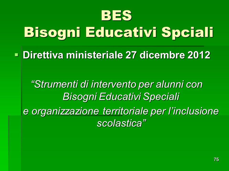 """BES Bisogni Educativi Spciali  Direttiva ministeriale 27 dicembre 2012 """"Strumenti di intervento per alunni con Bisogni Educativi Speciali e organizza"""