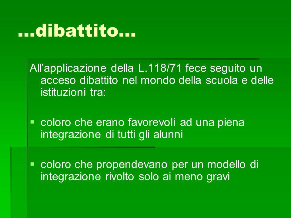 …dibattito… All'applicazione della L.118/71 fece seguito un acceso dibattito nel mondo della scuola e delle istituzioni tra:   coloro che erano favo