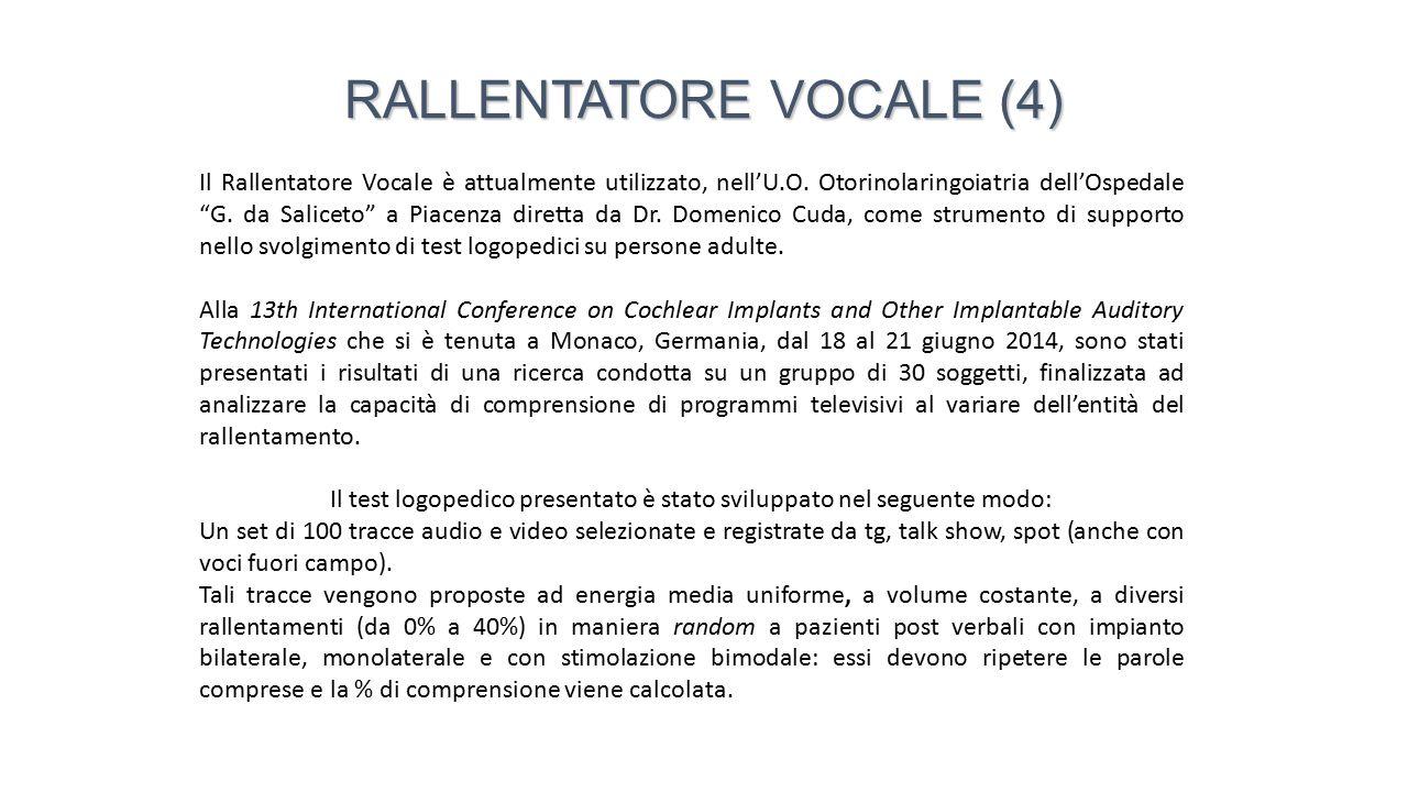 Il Rallentatore Vocale è di utilità e contribuisce al miglioramento della comprensione di dialoghi in programmi TV per soggetti portatori di impianto cocleare e apparecchi acustici.