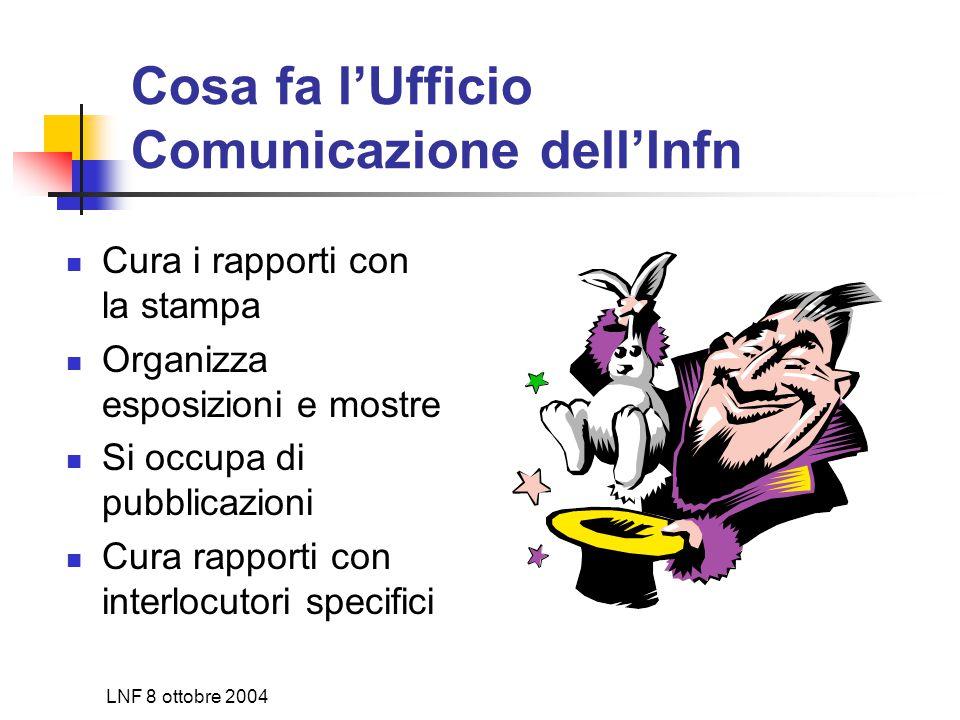 LNF 8 ottobre 2004 Cosa fa l'Ufficio Comunicazione dell'Infn Cura i rapporti con la stampa Organizza esposizioni e mostre Si occupa di pubblicazioni Cura rapporti con interlocutori specifici