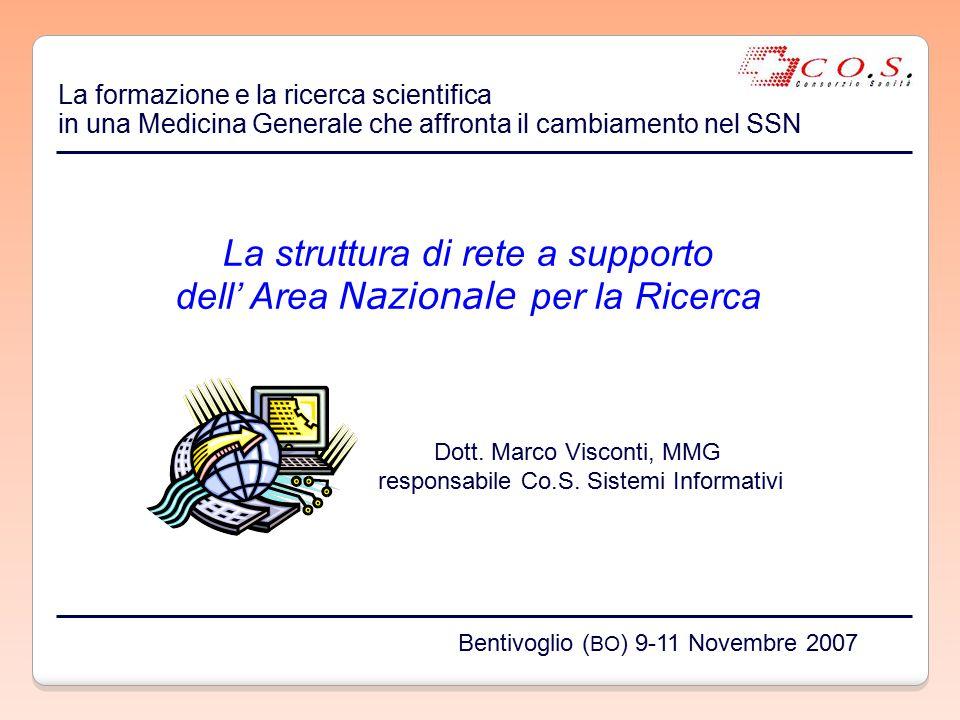 La struttura di rete a supporto dell' Area Nazionale per la Ricerca Dott. Marco Visconti, MMG responsabile Co.S. Sistemi Informativi La formazione e l
