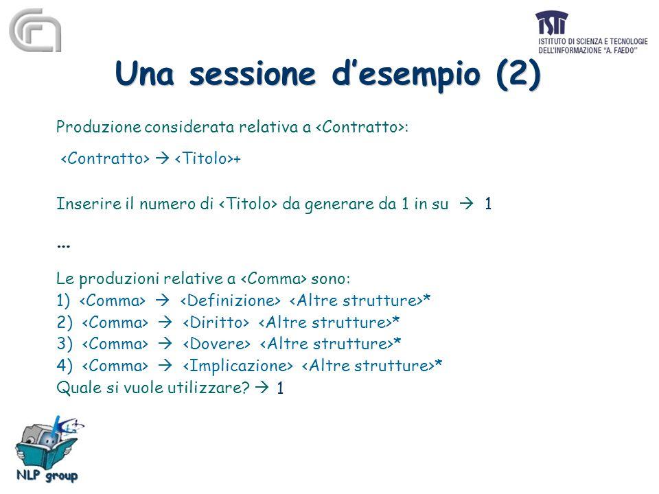 Una sessione d'esempio (2) Produzione considerata relativa a :  + Inserire il numero di da generare da 1 in su  … Le produzioni relative a sono: 1)  * 2)  * 3)  * 4)  * Quale si vuole utilizzare.