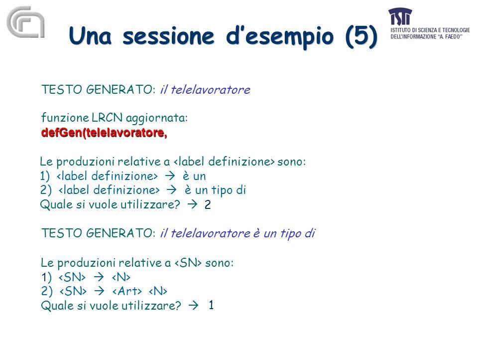 Una sessione d'esempio (5) TESTO GENERATO: il telelavoratore funzione LRCN aggiornata:defGen(telelavoratore, Le produzioni relative a sono: 1)  è un 2)  è un tipo di Quale si vuole utilizzare.