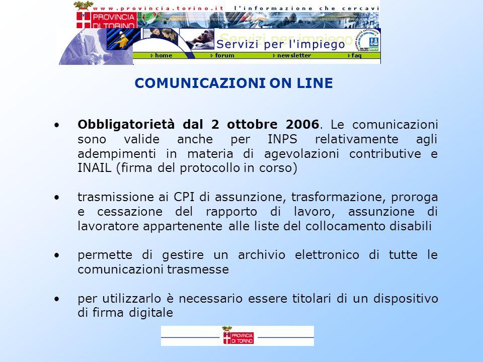COMUNICAZIONI ON LINE Obbligatorietà dal 2 ottobre 2006.