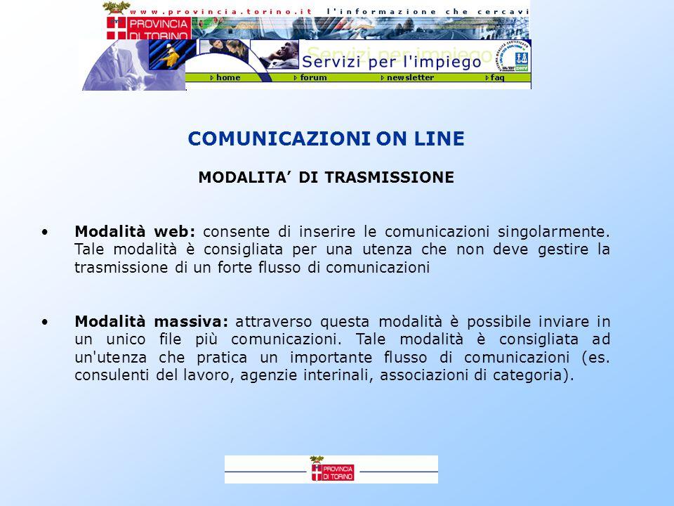 COMUNICAZIONI ON LINE MODALITA' DI TRASMISSIONE Modalità web: consente di inserire le comunicazioni singolarmente.