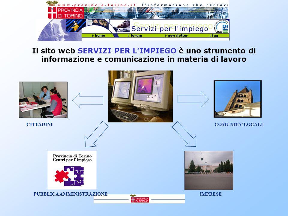 Il sito web SERVIZI PER L'IMPIEGO è uno strumento di informazione e comunicazione in materia di lavoro CITTADINI PUBBLICA AMMINISTRAZIONE IMPRESE COMUNITA' LOCALI